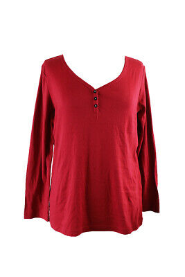 Charter Club Red Long-Sleeve Henley Pajama Top L