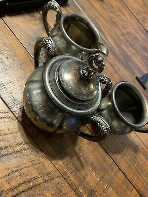 Antique Forbes Silver Co Quadruple Plate Tea Set Biscuit Jar Sugar Creamer