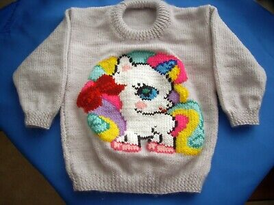 Unicorn  Jumper Size 3-4  Hand Knitted New Pretty Pale Lavender