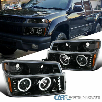 For 04-12 Colorado Canyon Pearl Black Halo Projector Headlights+ Signal Lamps