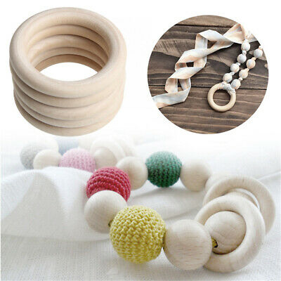 5Pcs Natural Wooden Baby Teething Rings Teethers For Making Necklace Bracelet UK