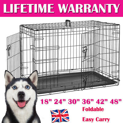 Pet Cage – Strong Metal Travel Crate For Dog Cat Puppy Vet 2 Doors S/M/L/XL/XXL