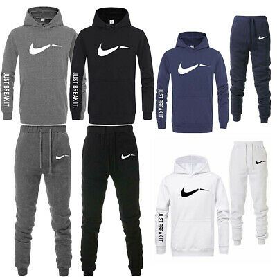 Mens Tracksuit Set Fleece Hoodie Top Bottoms Jogging Gym Sport Sweat Suit Pants