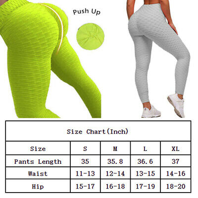 Women Push Up Anti Cellulite Leggings Yoga Pants Sports Ruched Scrunch Trousers