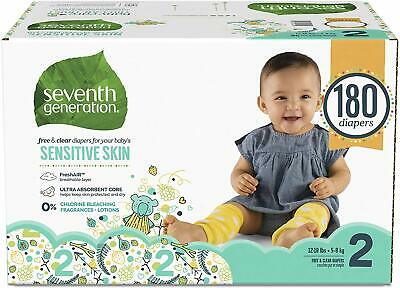 Seventh Generation Baby Diapers for Sensitive Skin, Animal Prints, Size 2, 180 C