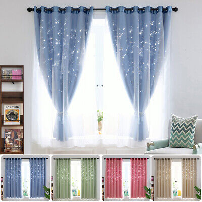 2-Layers Blockout Curtains Blackout Star Eyelet Pure Fabric Sheer Curtain Bedroo