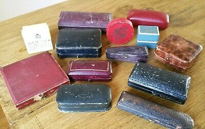 Good Lot of 13  Mixed Antique & Vintage  Jewellers Boxes Ring Earrings Medal etc