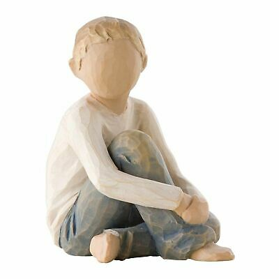 Willow Tree Caring Child Figurine Resin Hand-Painted Boy Ornament Gift Box