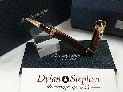 Montegrappa Ducale brown red gold rollerball pen NEW + boxes