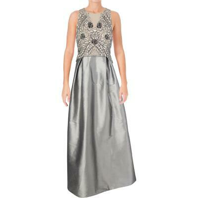 Adrianna Papell Womens Gray A-Line Party Evening Dress Gown Petites 8P BHFO 9469