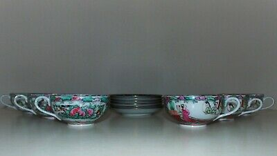 Set of 6 Chinese Export Tea Cups & Saucers Bone China Famille Rose Medallion