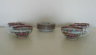 Set of 5 Chinese Export Tea Cups & Saucers Bone China Famille Rose Medallion