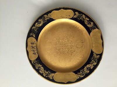 "5 10.75/"" GORGEOUS COBALT BLUE BLACK KNIGHT SERVICE DINNER PLATE GOLD ENCRUSTED"