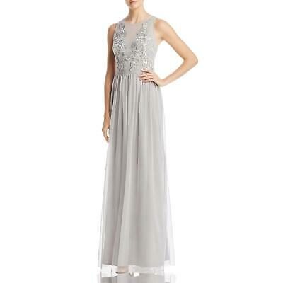 Adrianna Papell Womens Silver Beaded Tulle Evening Dress Gown 10 BHFO 8609