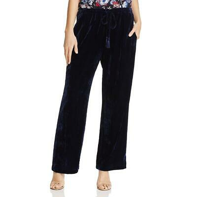 Beltaine Womens Valentina Navy Velvet Pajama Pull On Wide Leg Pants L BHFO 1767