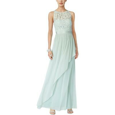 Adrianna Papell Womens Green Formal Lace Halter Evening Dress Gown 4 BHFO 5452