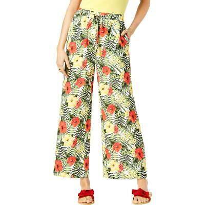 XOXO Womens White Soft Floral Casual Wide Leg Pants Juniors 0 BHFO 7310