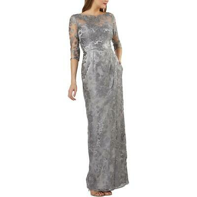 JS Collections Womens Silver Lace Faux-Wrap Evening Dress Gown 6 BHFO 1589