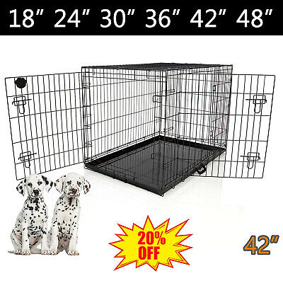 Metal Pet Cage Carrier Dog/Cat Puppy Folding Training Crate Travel Heavy Duty