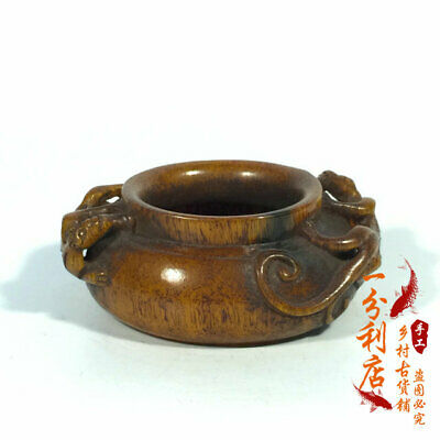 Exquisite Chinese antique Tibet  the Qing dynasty  Ox horn  Incense burner ww62