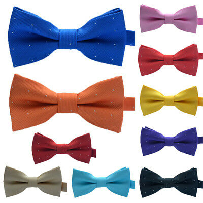 AM_ Children Kids Toddler Boys Girls Solid Colour Pre Tied Bow Tie Party Prom Ex