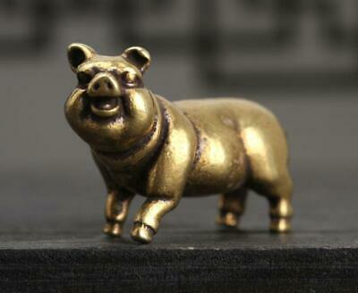"1.3""Collection Curio Chinese Bronze 12 Zodiac Animal Likable Pig Small Statue"