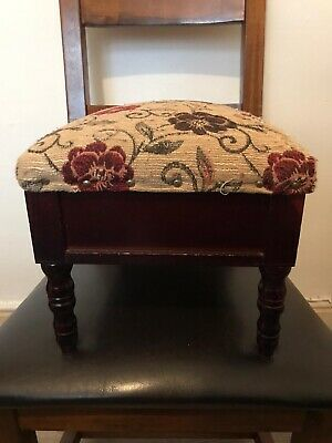 Small Wooden Foot Stool With Polyester Padded Lid Mahogany Effect Lift Up Seat