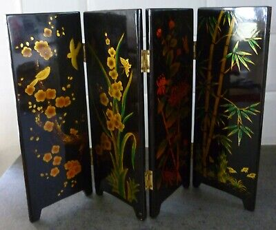 "Miniature Desk Folding Screen Oriental Design 4 Panels 10"" tall"