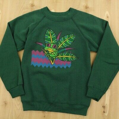vtg 80s 90s usa made raglan sweatshirt MEDIUM 10-12 cute tree frog rain forest