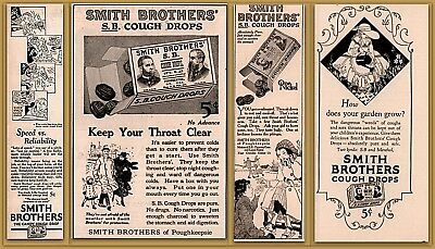 4 Early 1900's Ads Smith Brothers Cough Drops Ice Skating Gardening Cartoon