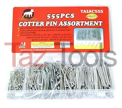 555 pc Cotter Pin Assortment Keys safety retainer Pins Set Cotter Keys 6 sizes