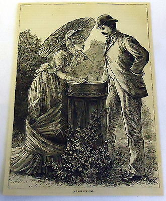 1882 magazine engraving ~ AT THE sun-dial ~woman and man inspect garden sun-dial