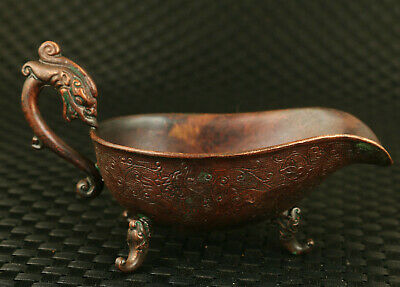 chinese old red copper hand casting dargon statue cup wine glass collect gift
