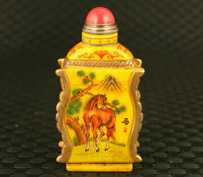 china old glaze Handcarved horse sheep statue snuff bottle noble gift decorate