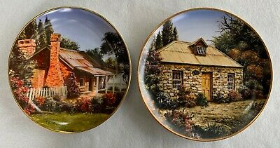 "2 plates from the ""Colonial Cottages"" series by Penny Lyras"