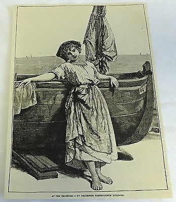 1882 magazine engraving ~ AT THE SEASHORE, Girl poses with sail boat- Guiliano