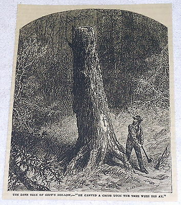 1882 magazine engraving ~ THE LONE tree OF GOFF'S HOLLOW ~ tree with cross
