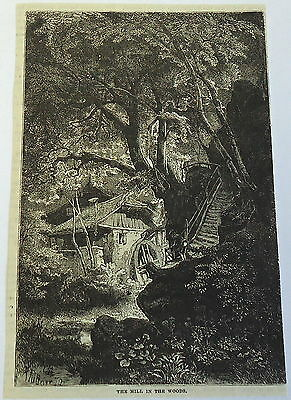 1882 magazine engraving ~ THE MILL IN the WOODS