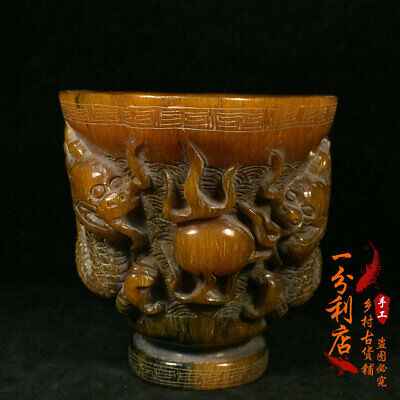 Exquisite Chinese antique Tibet  Ox horn  double  Dragon  cup ww91