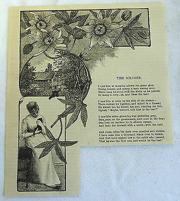 1882 magazine engraving ~ The Soldier ~ Woman holding cat ~ Poem