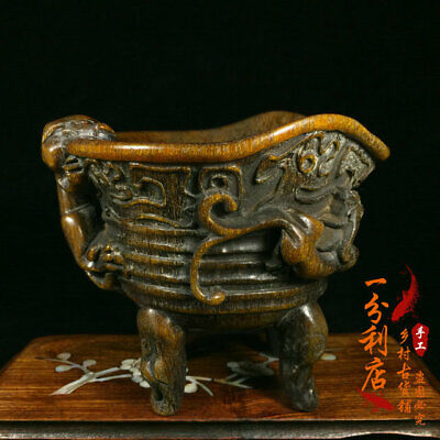 Exquisite Chinese antique Tibet  Ox horn  cup  Ornament ww98