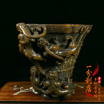 Exquisite Chinese antique Tibet the Qing dynasty Ox horn cup Ornament ww117