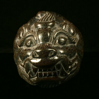 Exquisite Chinese antique Tibet    Ox horn Beast head cup Orname ww129