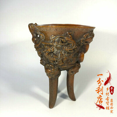 Exquisite Chinese antique Tibet  Ox horn  Beast head  cup  Ornament  ww131