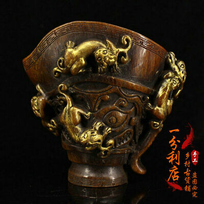Exquisite Chinese antique Tibet  Ox horn Gilded Dragon cup Ornament  ww132