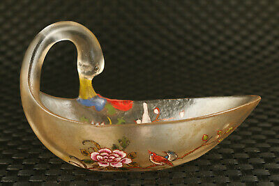 chinese old glaze hand painting swan statue tea cup wine cup table decoration