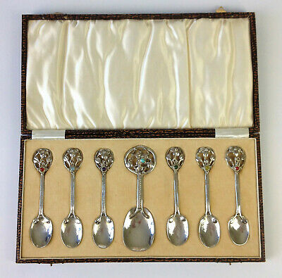 Antique Arts Crafts Solid Silver Spoon Set Nouveau Cabochon Ramsden Carr Liberty