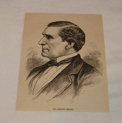1879 magazine engraving ~ HONORABLE ERASTUS BROOKS