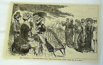 1882 magazine engraving ~ THE CHAPERON - SHE SITS STOCK STILL woman's etiquette