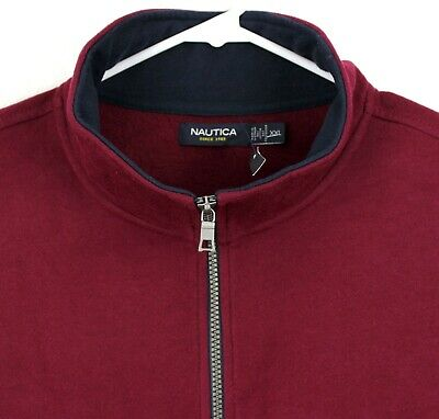 NWT NAUTICA Mens Quarter-Zip Ribbed Front Sweater Size XXL Burgundy Red